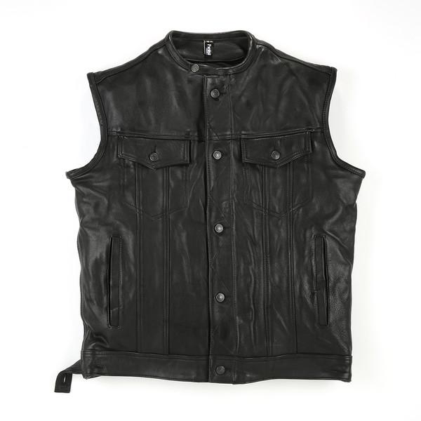 gilet waistcoat 2 cuir plain moto dafy moto blouson de moto. Black Bedroom Furniture Sets. Home Design Ideas