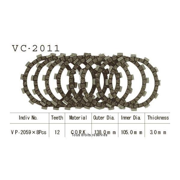 Disques garnis d'embrayage Cross VC2011