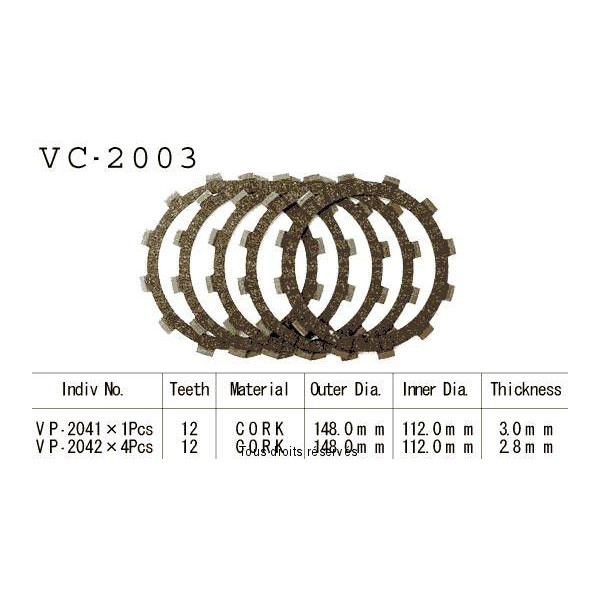Disques garnis d'embrayage VC2003