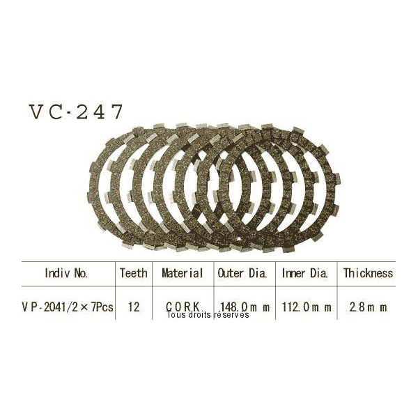 Disques garnis d'embrayage VC247