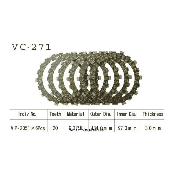 Disques garnis d'embrayage VC271
