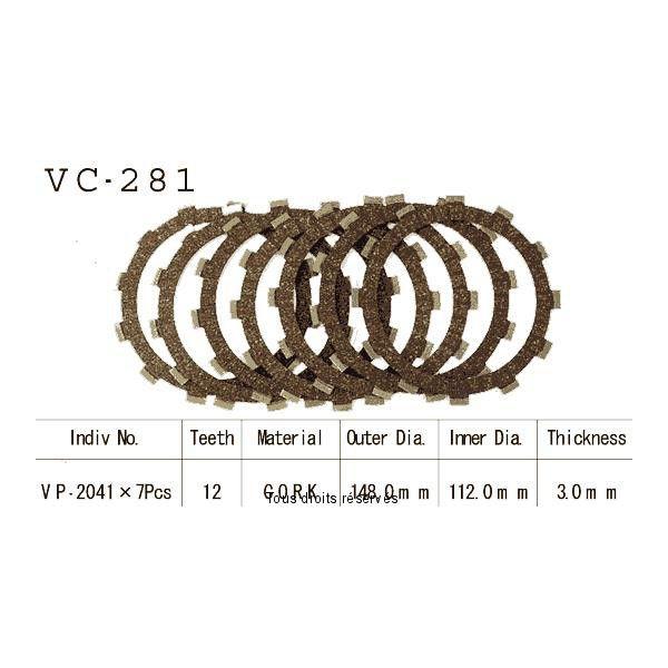 Disques garnis d'embrayage VC281
