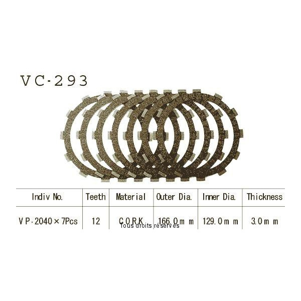 Disques garnis d'embrayage VC293