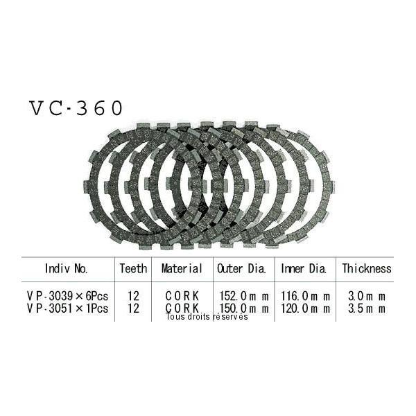 Disques garnis d'embrayage VC360