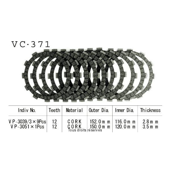 Disques garnis d'embrayage VC371