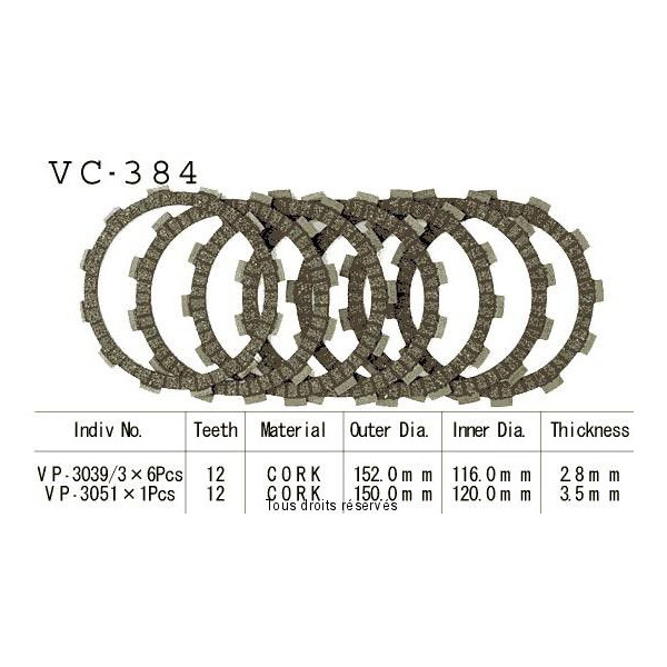 Disques garnis d'embrayage VC384