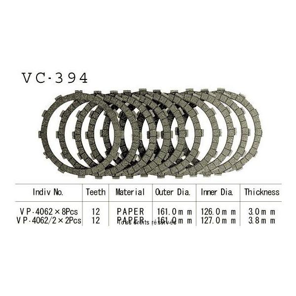 Disques garnis d'embrayage VC394