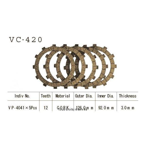 Disques garnis d'embrayage VC420