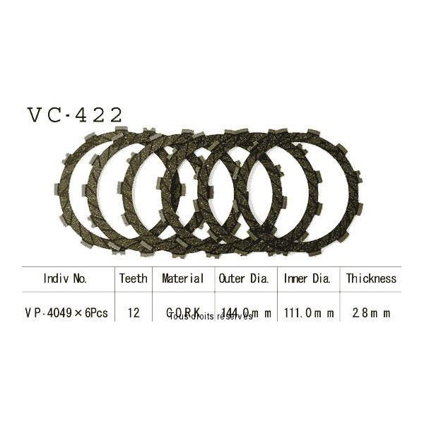 Disques garnis d'embrayage VC422
