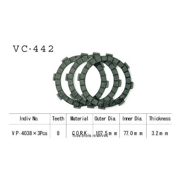 Disques garnis d'embrayage VC442