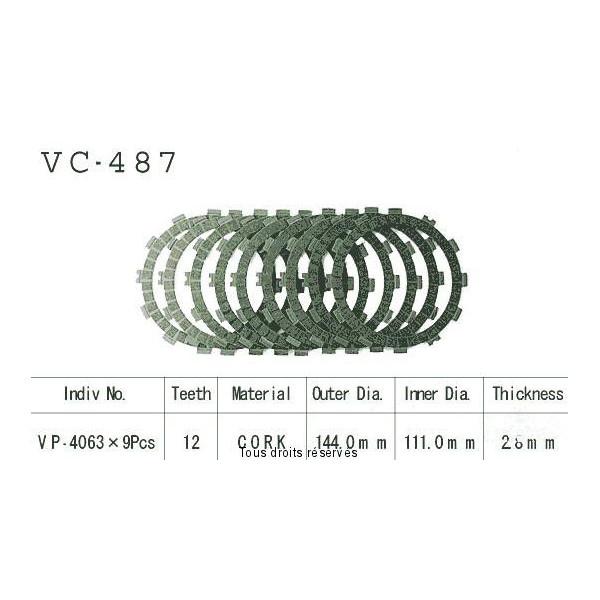 Disques garnis d'embrayage VC487