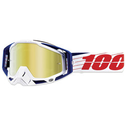 Masque Racecraft Bibal White Mirror True Gold Lens 100%